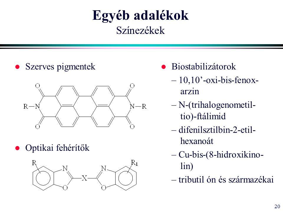 20 Egyéb adalékok Színezékek l Szerves pigmentek l Optikai fehérítők l Biostabilizátorok – 10,10'-oxi-bis-fenox- arzin – N-(trihalogenometil- tio)-ftálimid – difenilsztilbin-2-etil- hexanoát – Cu-bis-(8-hidroxikino- lin) – tributil ón és származékai