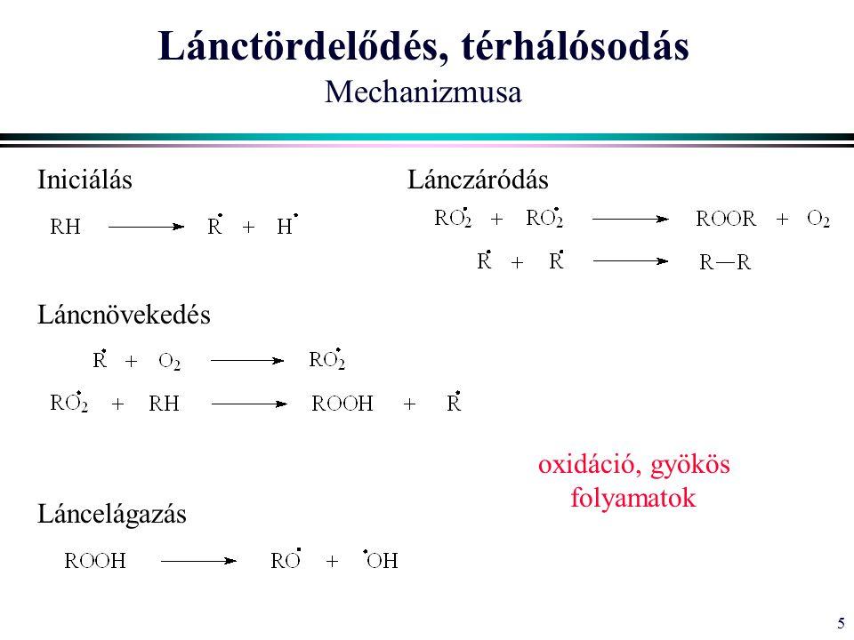 5 Lánctördelődés, térhálósodás Mechanizmusa Iniciálás Láncnövekedés Láncelágazás Lánczáródás oxidáció, gyökös folyamatok