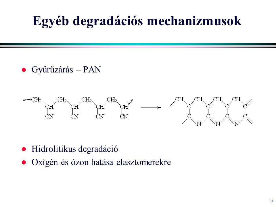7 Egyéb degradációs mechanizmusok l Gyűrűzárás – PAN l Hidrolitikus degradáció l Oxigén és ózon hatása elasztomerekre