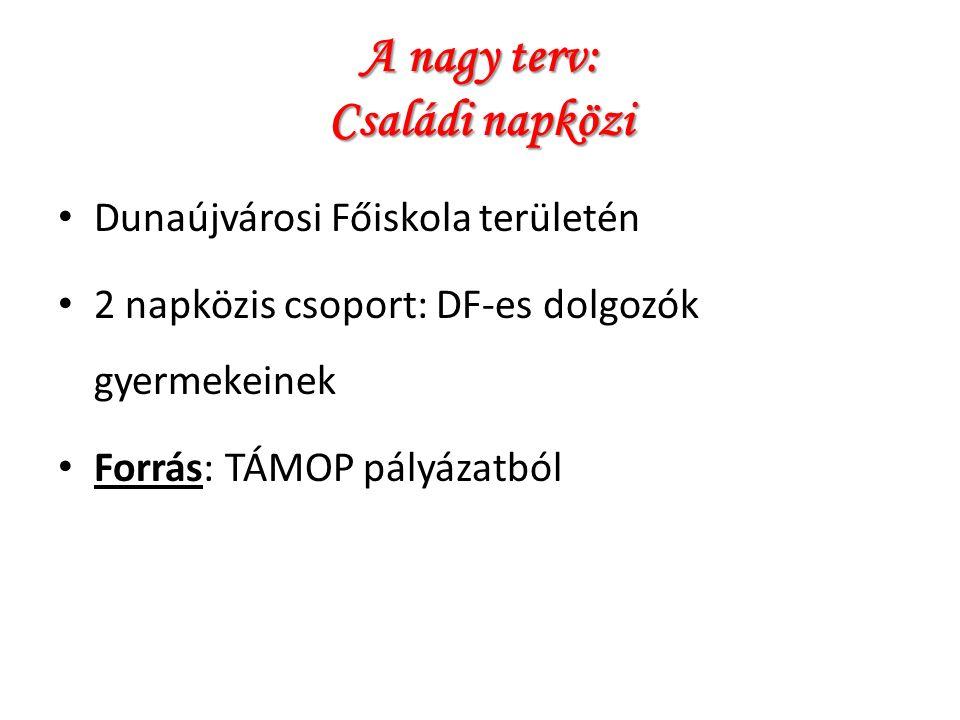 A nagy terv: Családi napközi Dunaújvárosi Főiskola területén 2 napközis csoport: DF-es dolgozók gyermekeinek Forrás: TÁMOP pályázatból