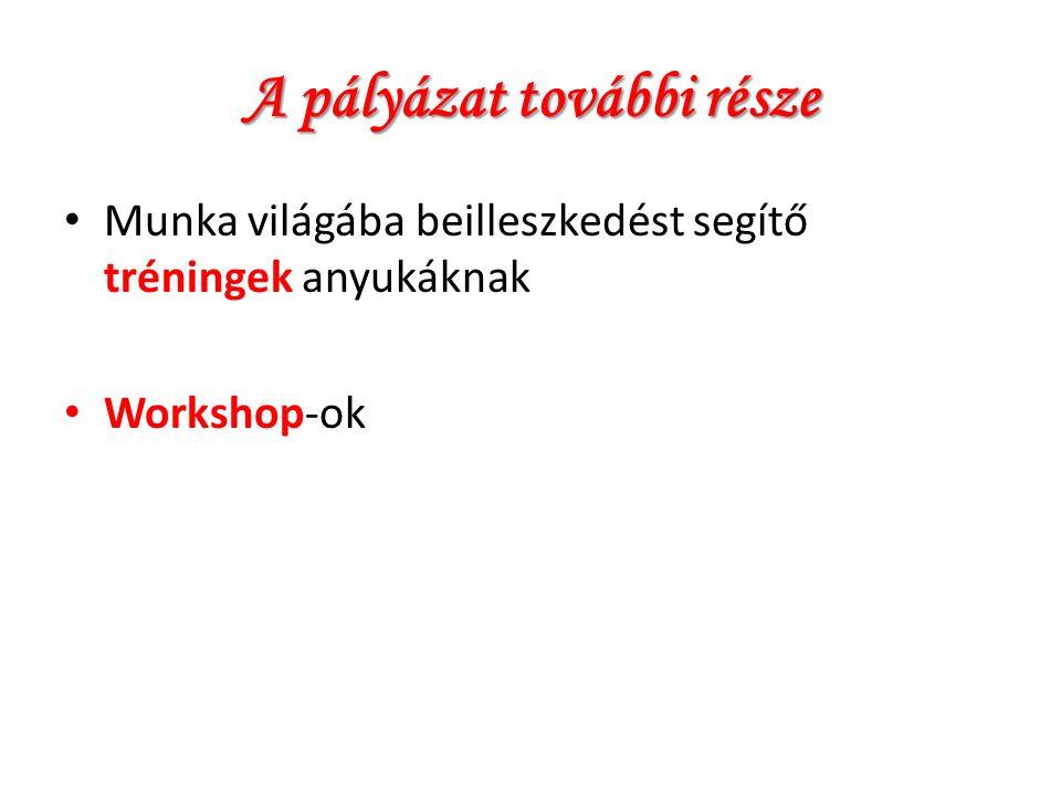 A pályázat további része Munka világába beilleszkedést segítő tréningek anyukáknak Workshop-ok