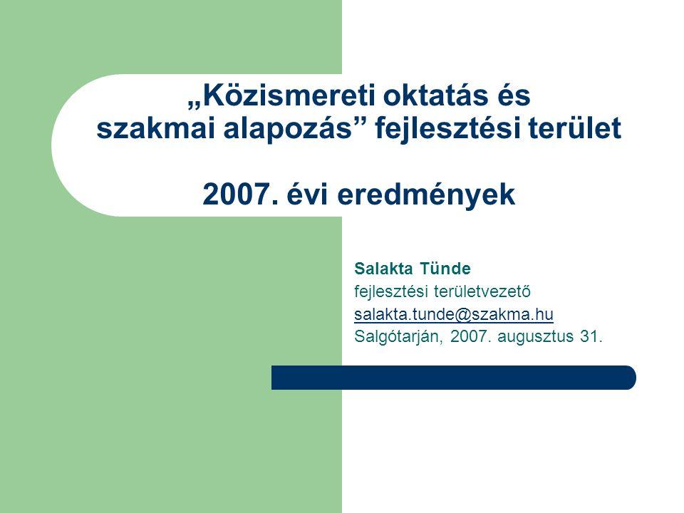 """""""Közismereti oktatás és szakmai alapozás fejlesztési terület 2007."""