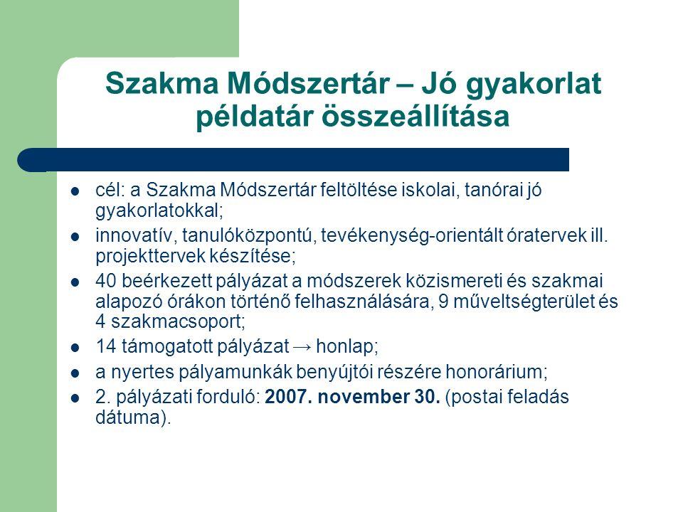 Szakma Módszertár – Jó gyakorlat példatár összeállítása cél: a Szakma Módszertár feltöltése iskolai, tanórai jó gyakorlatokkal; innovatív, tanulóközpontú, tevékenység-orientált óratervek ill.