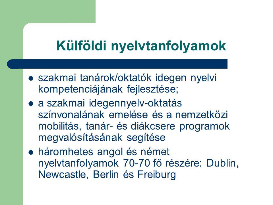 Külföldi nyelvtanfolyamok szakmai tanárok/oktatók idegen nyelvi kompetenciájának fejlesztése; a szakmai idegennyelv-oktatás színvonalának emelése és a nemzetközi mobilitás, tanár- és diákcsere programok megvalósításának segítése háromhetes angol és német nyelvtanfolyamok 70-70 fő részére: Dublin, Newcastle, Berlin és Freiburg