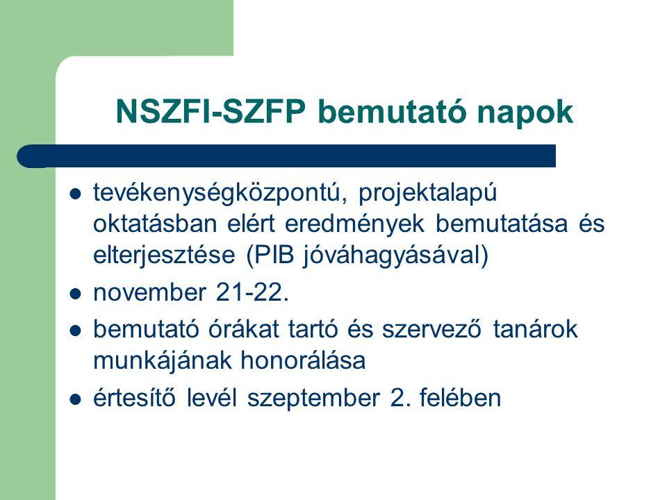 NSZFI-SZFP bemutató napok tevékenységközpontú, projektalapú oktatásban elért eredmények bemutatása és elterjesztése (PIB jóváhagyásával) november 21-22.