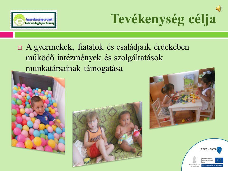 Tevékenység célja  A gyermekek, fiatalok és családjaik érdekében működő intézmények és szolgáltatások munkatársainak támogatása