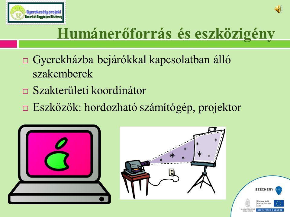 Humánerőforrás és eszközigény  Gyerekházba bejárókkal kapcsolatban álló szakemberek  Szakterületi koordinátor  Eszközök: hordozható számítógép, projektor