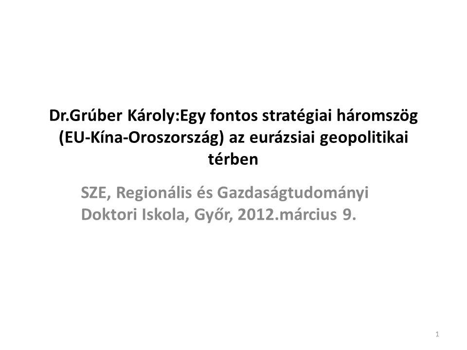 Dr.Grúber Károly:Egy fontos stratégiai háromszög (EU-Kína-Oroszország) az eurázsiai geopolitikai térben SZE, Regionális és Gazdaságtudományi Doktori Iskola, Győr, 2012.március 9.