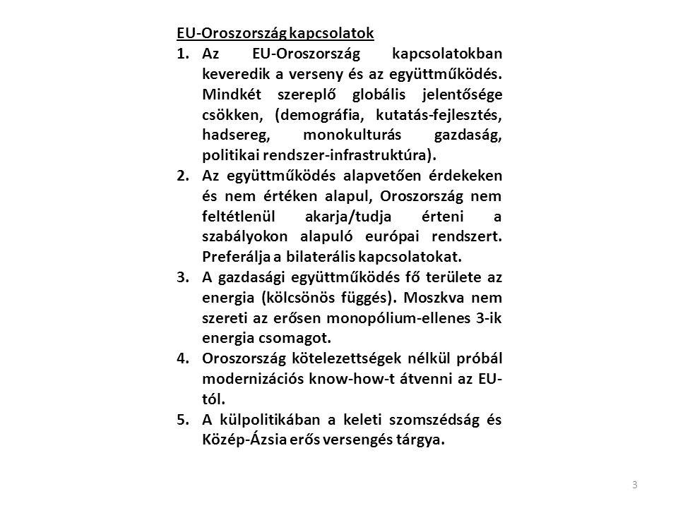 EU-Oroszország kapcsolatok 1.Az EU-Oroszország kapcsolatokban keveredik a verseny és az együttműködés.