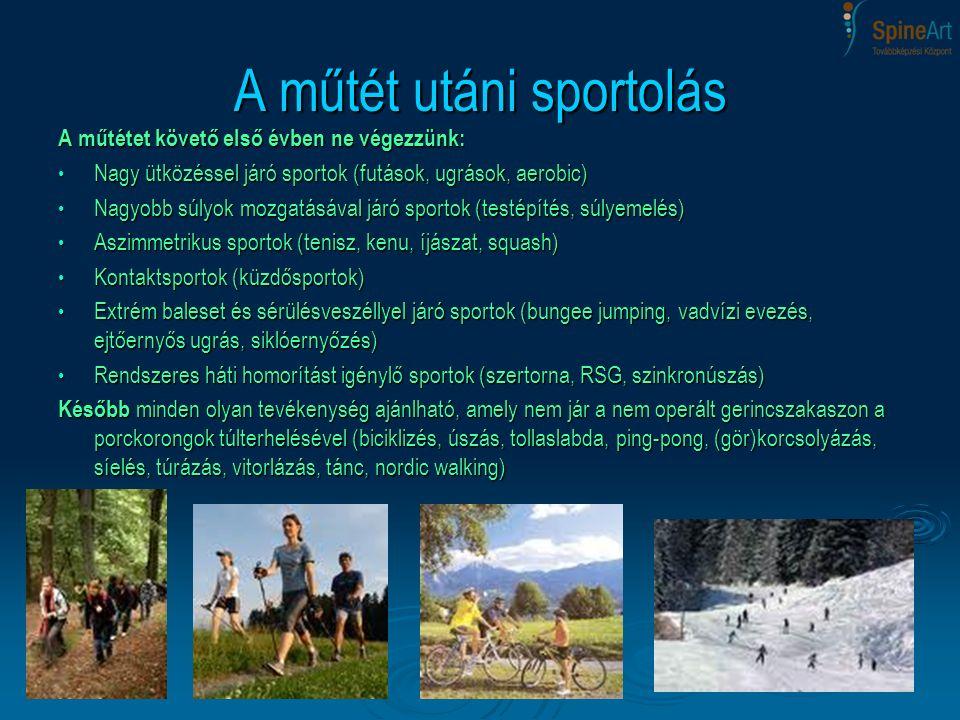 A műtétet követő első évben ne végezzünk: Nagy ütközéssel járó sportok (futások, ugrások, aerobic) Nagy ütközéssel járó sportok (futások, ugrások, aer