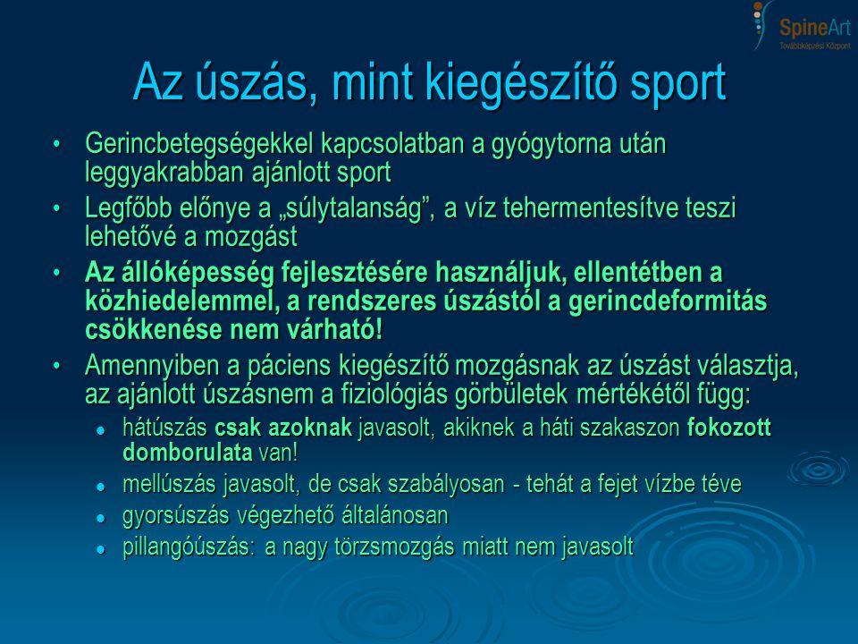 Az úszás, mint kiegészítő sport Gerincbetegségekkel kapcsolatban a gyógytorna után leggyakrabban ajánlott sport Gerincbetegségekkel kapcsolatban a gyó