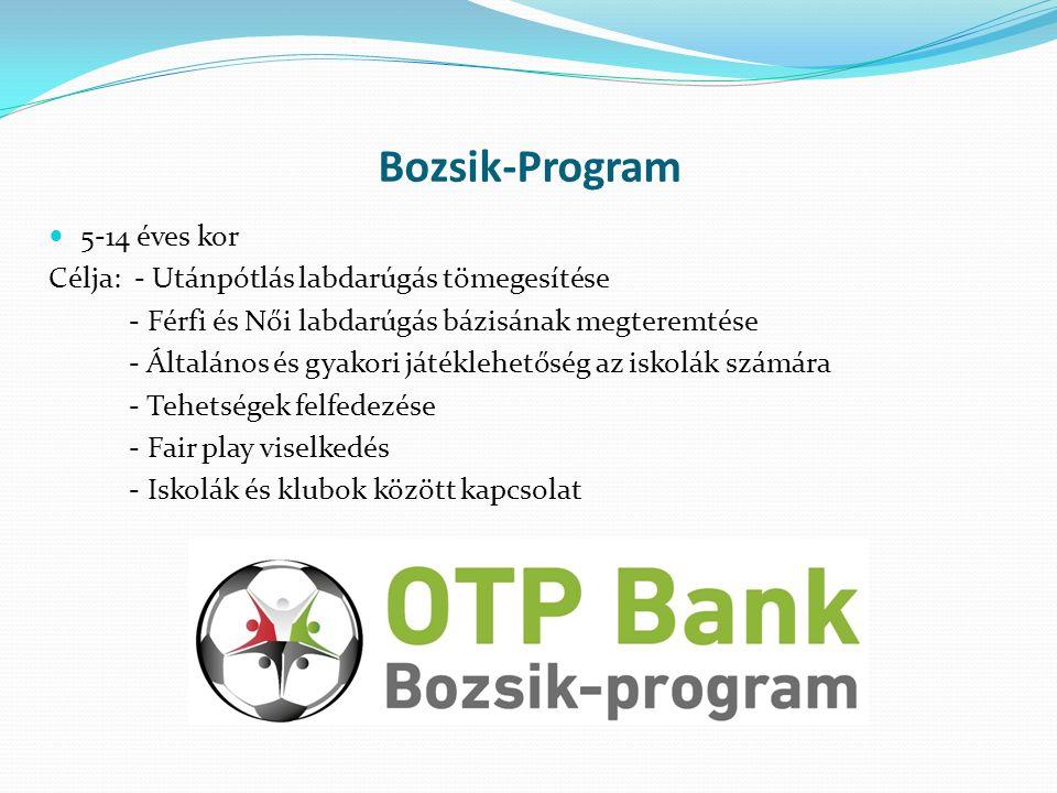 Bozsik-Program 5-14 éves kor Célja: - Utánpótlás labdarúgás tömegesítése - Férfi és Női labdarúgás bázisának megteremtése - Általános és gyakori játéklehetőség az iskolák számára - Tehetségek felfedezése - Fair play viselkedés - Iskolák és klubok között kapcsolat