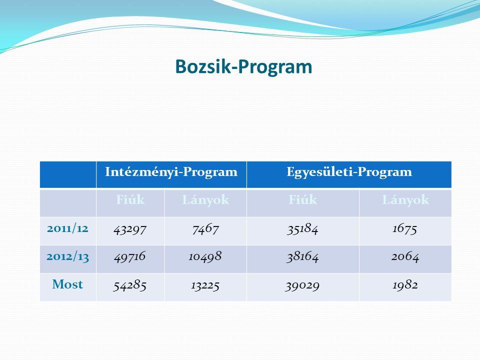Bozsik-Program Intézményi-ProgramEgyesületi-Program FiúkLányokFiúkLányok 2011/12432977467351841675 2012/134971610498381642064 Most5428513225390291982