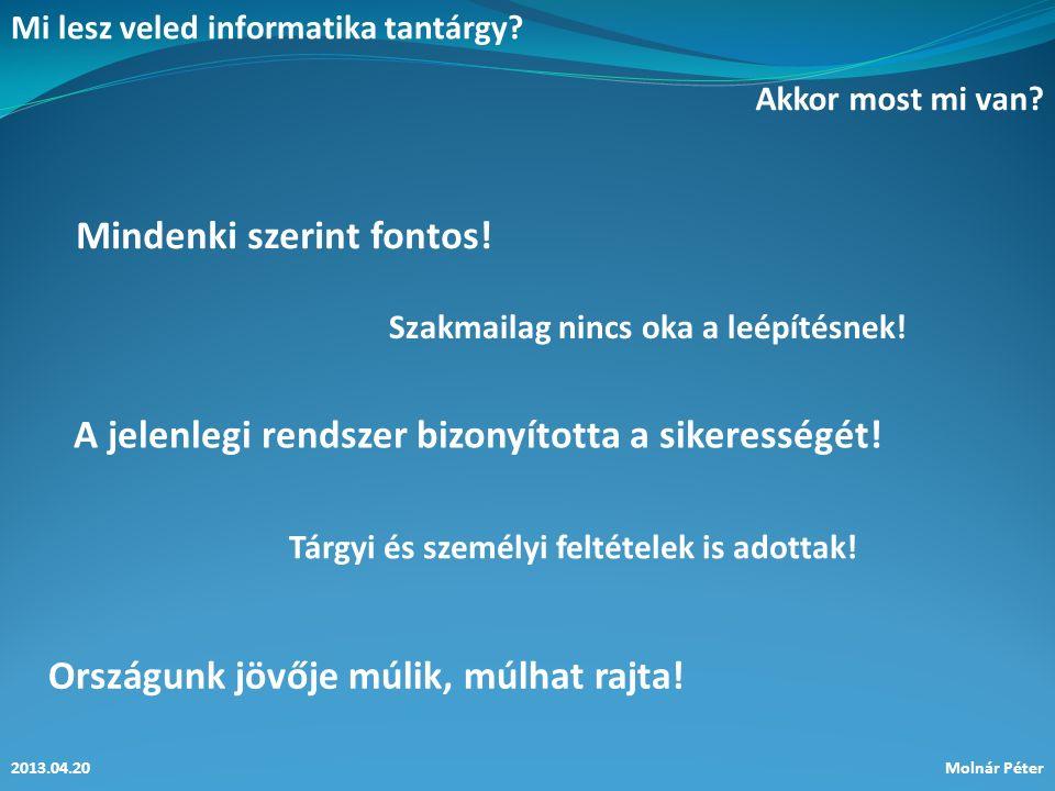 Mi lesz veled informatika tantárgy.2013.04.20Molnár Péter Akkor most mi van.