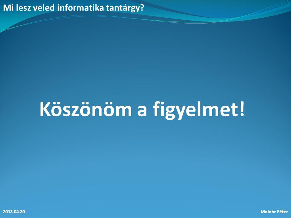Mi lesz veled informatika tantárgy? 2013.04.20Molnár Péter Köszönöm a figyelmet!