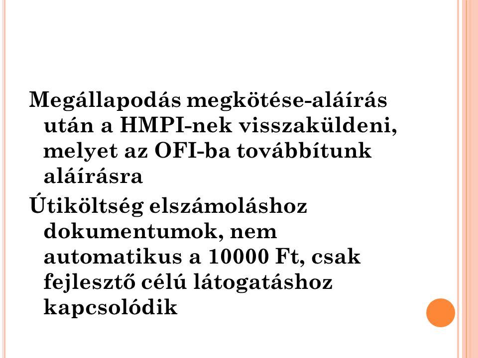 Megállapodás megkötése-aláírás után a HMPI-nek visszaküldeni, melyet az OFI-ba továbbítunk aláírásra Útiköltség elszámoláshoz dokumentumok, nem automa