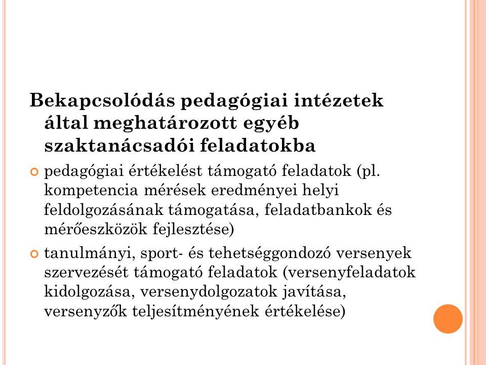 Bekapcsolódás pedagógiai intézetek által meghatározott egyéb szaktanácsadói feladatokba pedagógiai értékelést támogató feladatok (pl. kompetencia méré