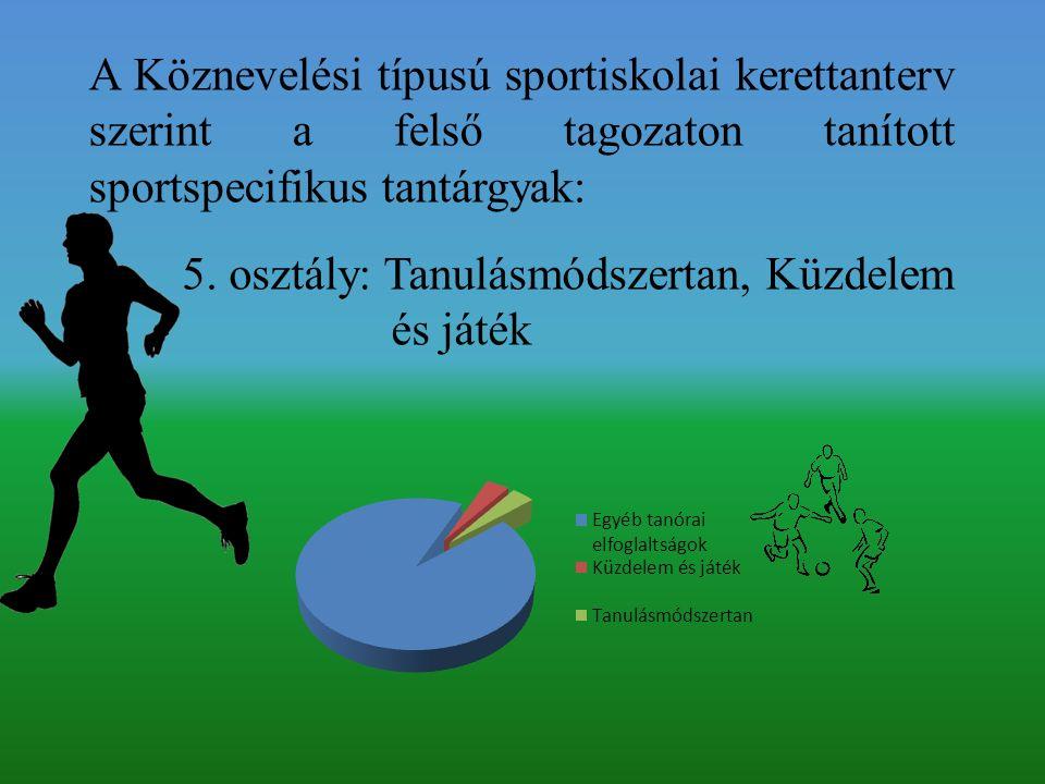 A Köznevelési típusú sportiskolai kerettanterv szerint a felső tagozaton tanított sportspecifikus tantárgyak: 5.