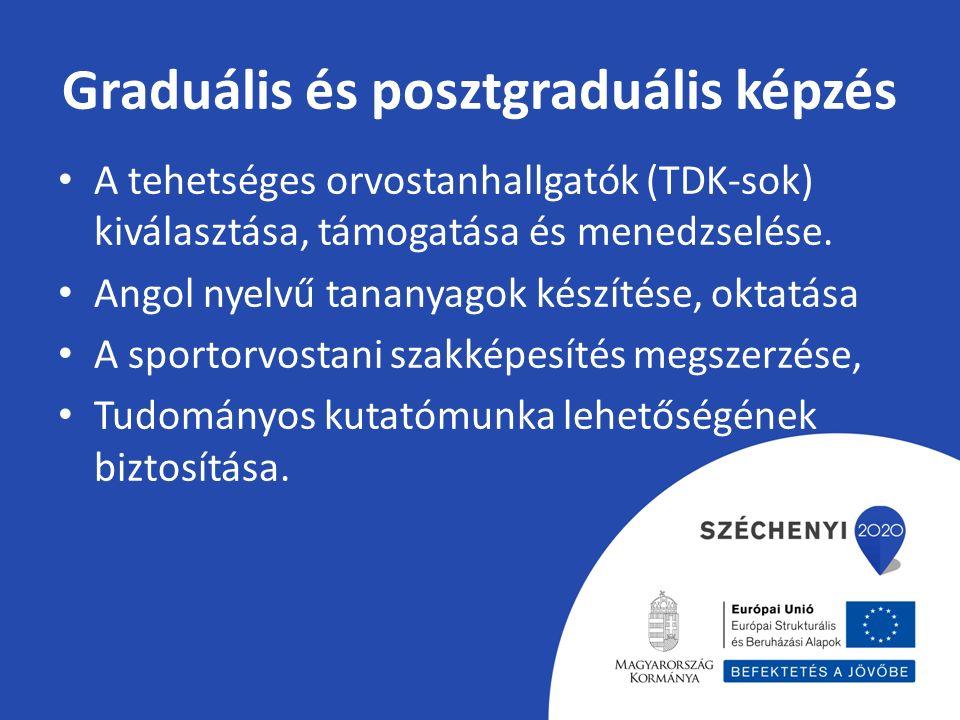 Graduális és posztgraduális képzés A tehetséges orvostanhallgatók (TDK-sok) kiválasztása, támogatása és menedzselése.