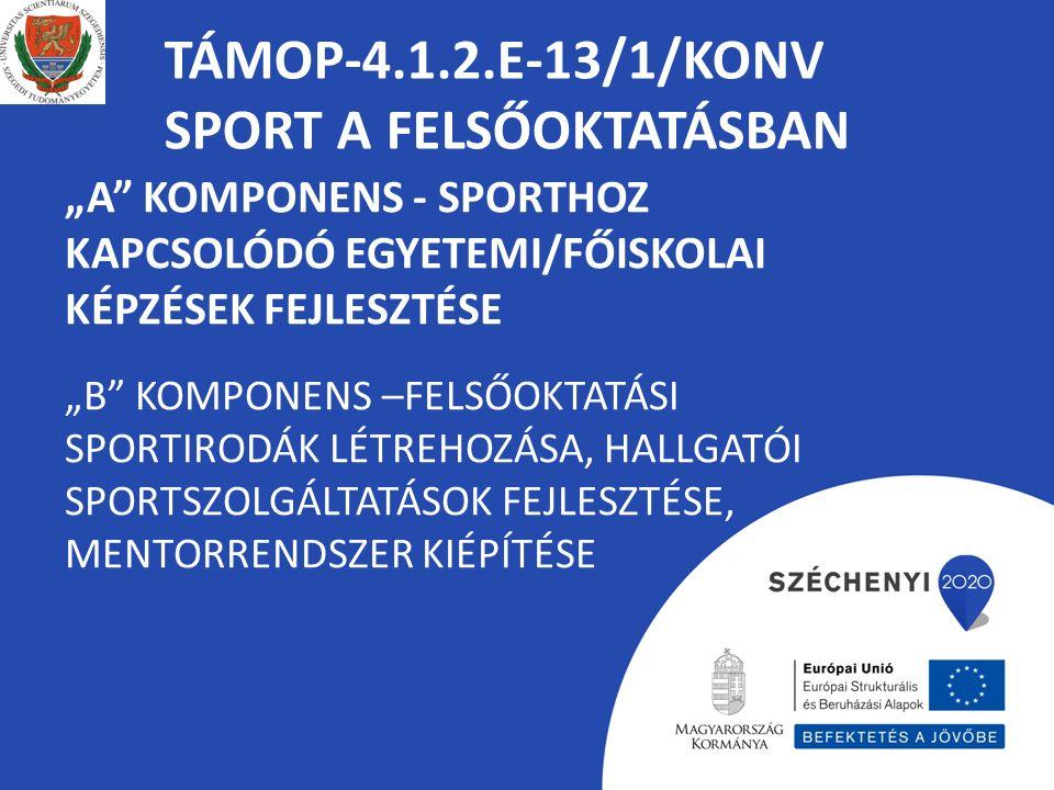 """TÁMOP-4.1.2.E-13/1/KONV SPORT A FELSŐOKTATÁSBAN """"A KOMPONENS - SPORTHOZ KAPCSOLÓDÓ EGYETEMI/FŐISKOLAI KÉPZÉSEK FEJLESZTÉSE """"B KOMPONENS –FELSŐOKTATÁSI SPORTIRODÁK LÉTREHOZÁSA, HALLGATÓI SPORTSZOLGÁLTATÁSOK FEJLESZTÉSE, MENTORRENDSZER KIÉPÍTÉSE"""