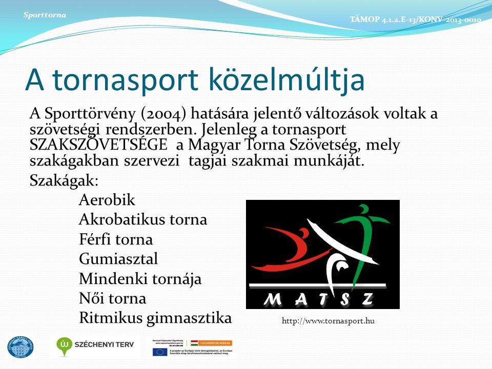 A tornasport közelmúltja A Sporttörvény (2004) hatására jelentő változások voltak a szövetségi rendszerben. Jelenleg a tornasport SZAKSZÖVETSÉGE a Mag
