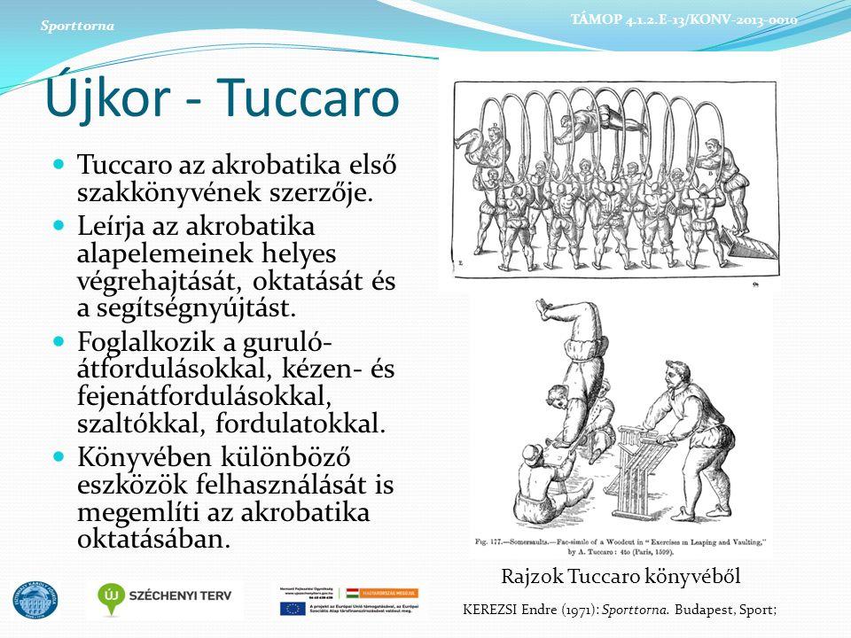 Újkor - Tuccaro Tuccaro az akrobatika első szakkönyvének szerzője. Leírja az akrobatika alapelemeinek helyes végrehajtását, oktatását és a segítségnyú