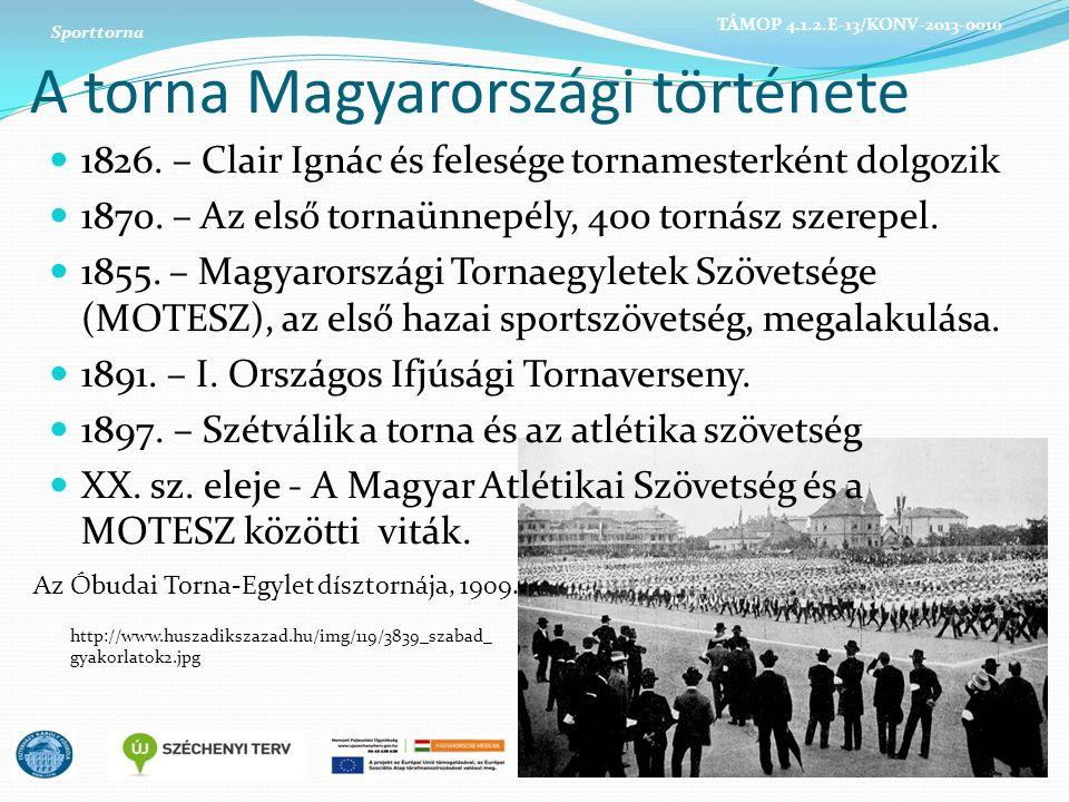 A torna Magyarországi története 1826. – Clair Ignác és felesége tornamesterként dolgozik 1870. – Az első tornaünnepély, 400 tornász szerepel. 1855. –