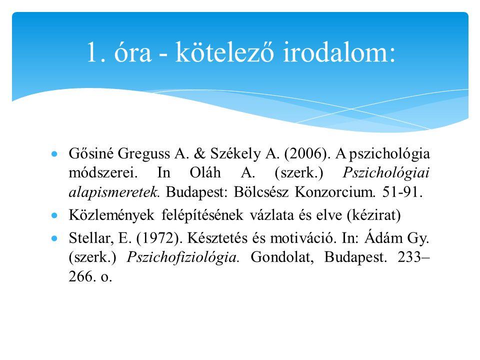  Gősiné Greguss A. & Székely A. (2006). A pszichológia módszerei. In Oláh A. (szerk.) Pszichológiai alapismeretek. Budapest: Bölcsész Konzorcium. 51-