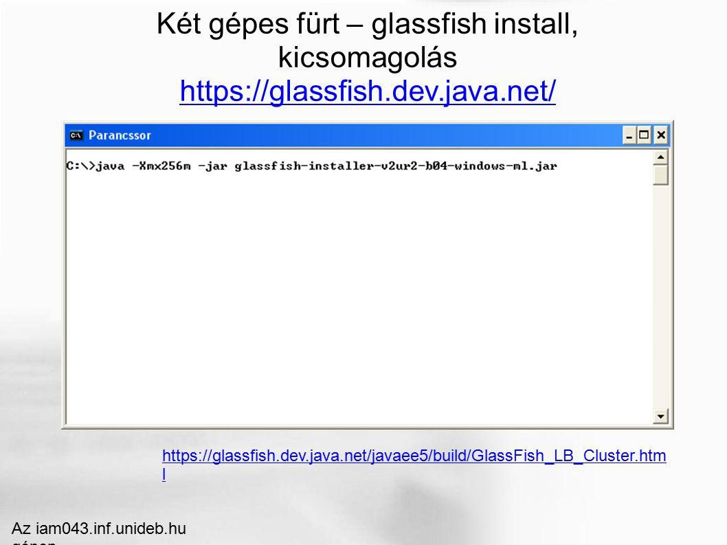 Két gépes fürt – glassfish install, kicsomagolás https://glassfish.dev.java.net/ Az iam043.inf.unideb.hu gépen https://glassfish.dev.java.net/javaee5/