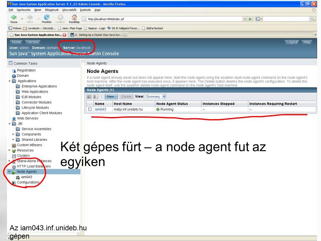 Két gépes fürt – a node agent fut az egyiken Az iam043.inf.unideb.hu gépen