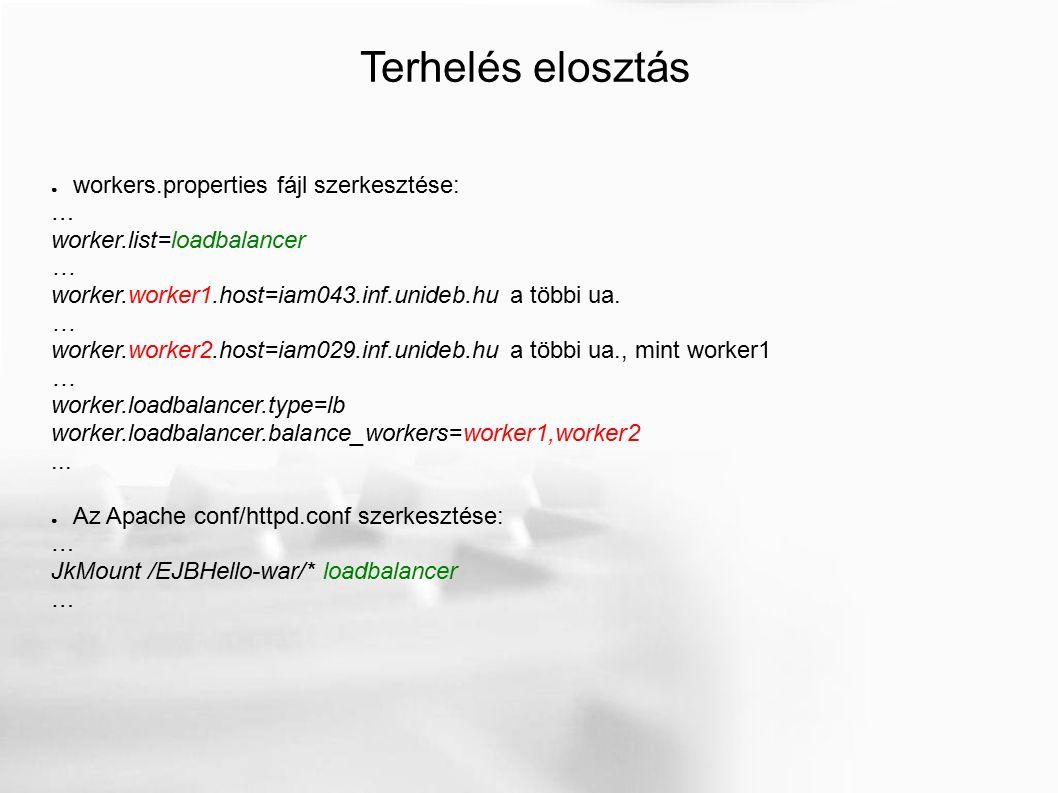 Terhelés elosztás ● workers.properties fájl szerkesztése: … worker.list=loadbalancer … worker.worker1.host=iam043.inf.unideb.hu a többi ua.