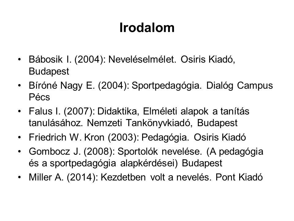 Irodalom Bábosik I. (2004): Neveléselmélet. Osiris Kiadó, Budapest Bíróné Nagy E. (2004): Sportpedagógia. Dialóg Campus Pécs Falus I. (2007): Didaktik