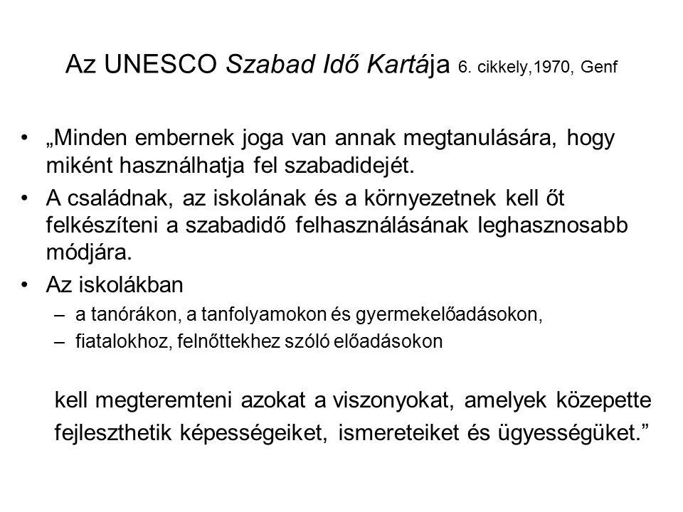 """Az UNESCO Szabad Idő Kartája 6. cikkely,1970, Genf """"Minden embernek joga van annak megtanulására, hogy miként használhatja fel szabadidejét. A családn"""