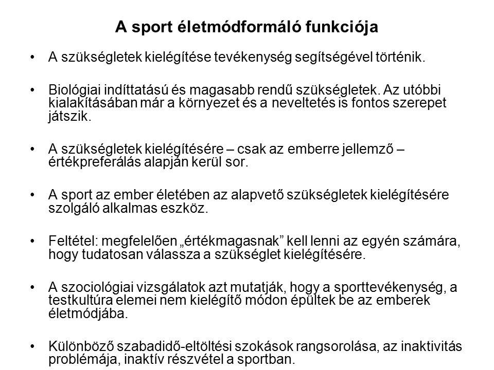 A sport életmódformáló funkciója A szükségletek kielégítése tevékenység segítségével történik. Biológiai indíttatású és magasabb rendű szükségletek. A