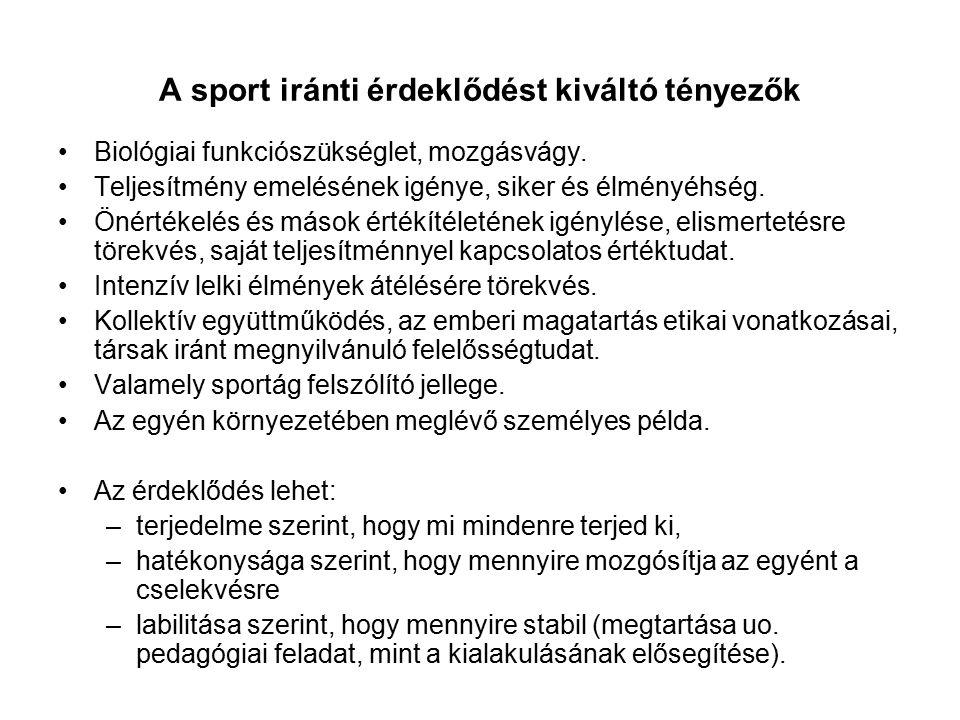 A sport iránti érdeklődést kiváltó tényezők Biológiai funkciószükséglet, mozgásvágy. Teljesítmény emelésének igénye, siker és élményéhség. Önértékelés