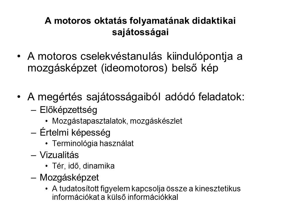 A motoros oktatás folyamatának didaktikai sajátosságai A motoros cselekvéstanulás kiindulópontja a mozgásképzet (ideomotoros) belső kép A megértés saj