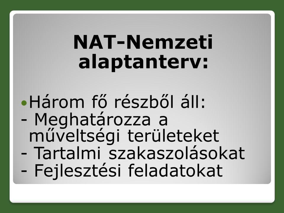 NAT-Nemzeti alaptanterv: Három fő részből áll: - Meghatározza a műveltségi területeket - Tartalmi szakaszolásokat - Fejlesztési feladatokat