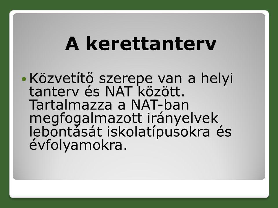 A kerettanterv Közvetítő szerepe van a helyi tanterv és NAT között.