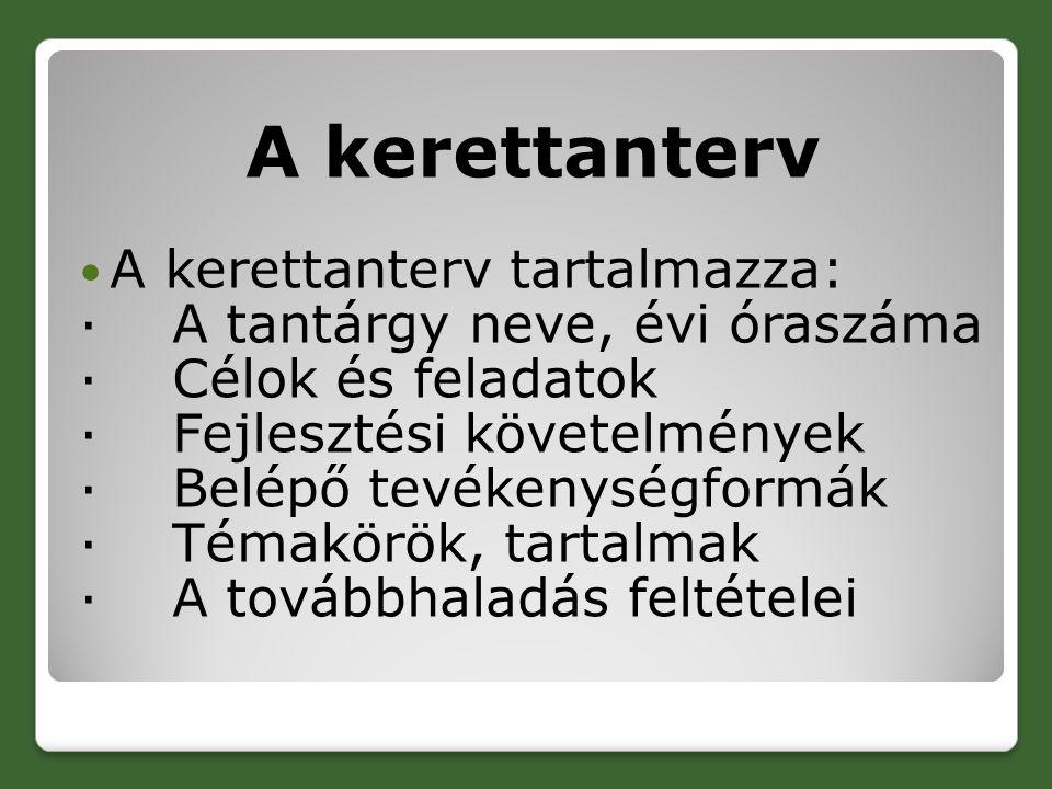 A kerettanterv A kerettanterv tartalmazza: · A tantárgy neve, évi óraszáma · Célok és feladatok · Fejlesztési követelmények · Belépő tevékenységformák