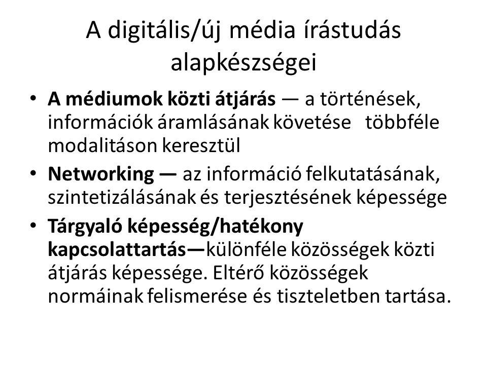 A digitális/új média írástudás alapkészségei A médiumok közti átjárás — a történések, információk áramlásának követése többféle modalitáson keresztül Networking — az információ felkutatásának, szintetizálásának és terjesztésének képessége Tárgyaló képesség/hatékony kapcsolattartás—különféle közösségek közti átjárás képessége.