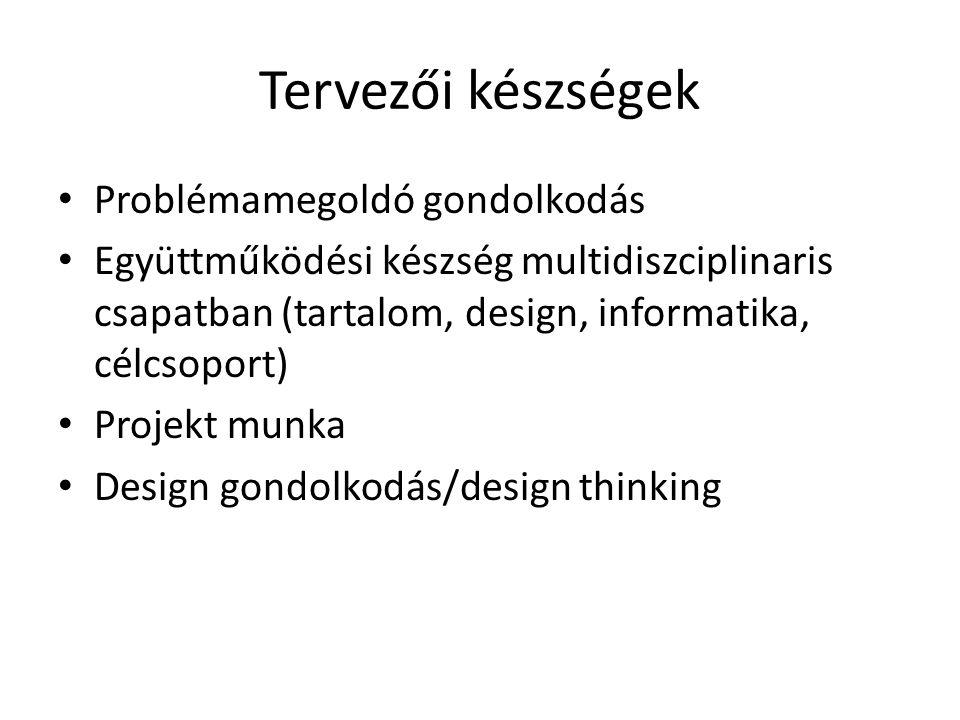 Tervezői készségek Problémamegoldó gondolkodás Együttműködési készség multidiszciplinaris csapatban (tartalom, design, informatika, célcsoport) Projekt munka Design gondolkodás/design thinking