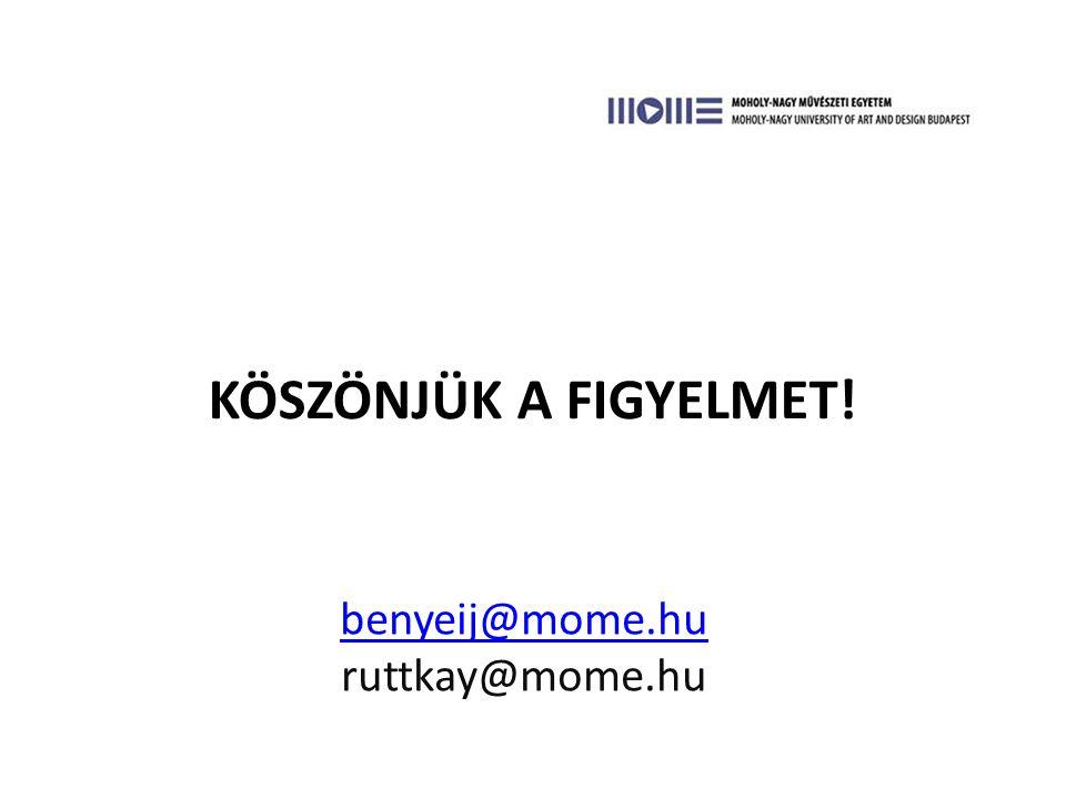 KÖSZÖNJÜK A FIGYELMET! benyeij@mome.hu benyeij@mome.hu ruttkay@mome.hu