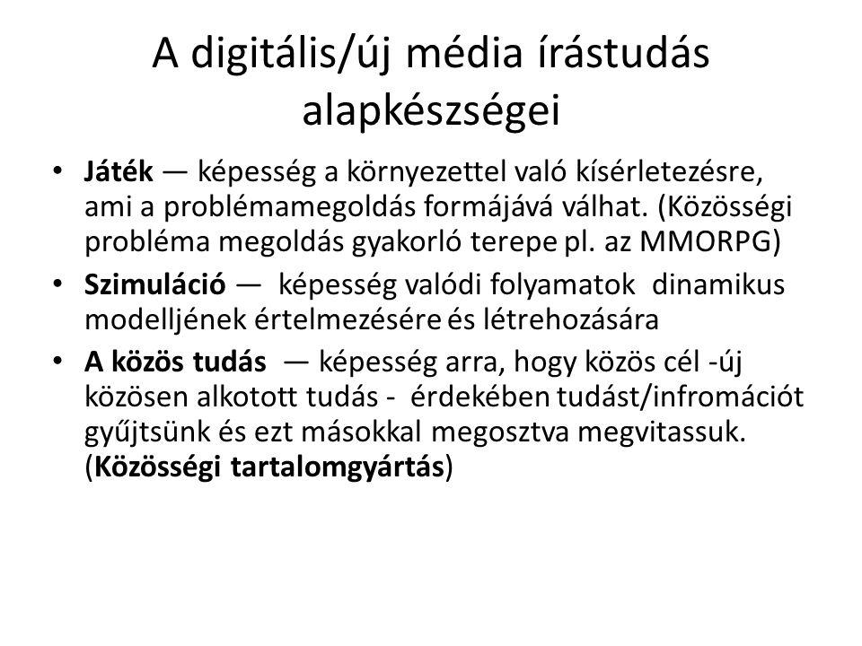A digitális/új média írástudás alapkészségei Játék — képesség a környezettel való kísérletezésre, ami a problémamegoldás formájává válhat. (Közösségi