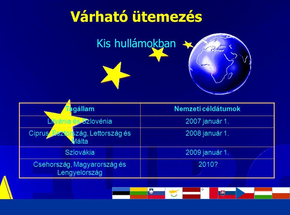 Luca Kadar, European Commission Várható ütemezés Kis hullámokban TagállamNemzeti céldátumok Litvánia és Szlovénia2007 január 1. Ciprus, Észtország, Le