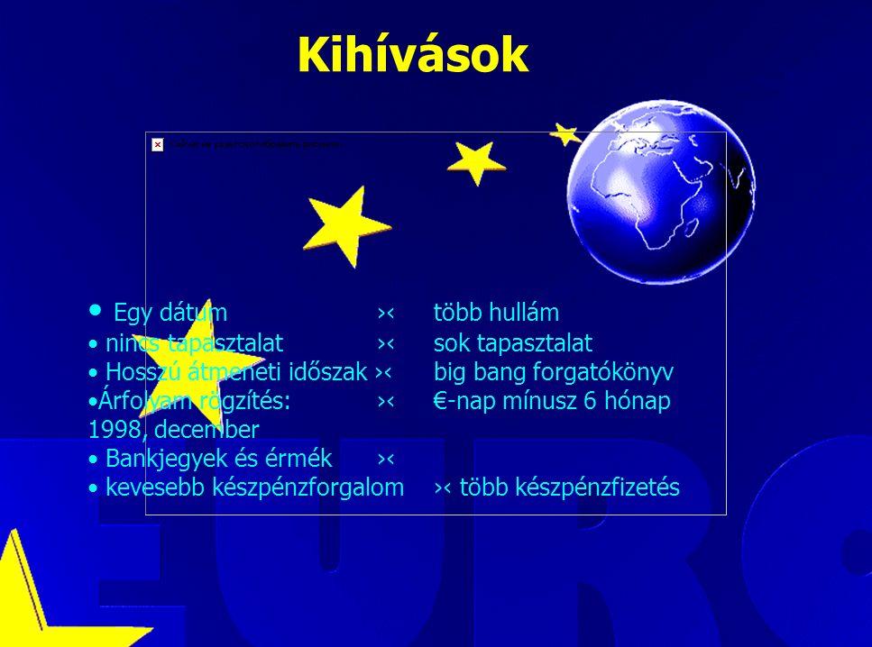 Luca Kadar, European Commission Kihívások Egy dátum ›‹több hullám nincs tapasztalat ›‹sok tapasztalat Hosszú átmeneti időszak ›‹big bang forgatókönyv Árfolyam rögzítés: ›‹ €-nap mínusz 6 hónap 1998, december Bankjegyek és érmék ›‹ kevesebb készpénzforgalom›‹ több készpénzfizetés