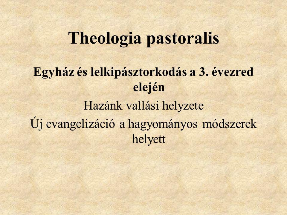 Theologia pastoralis Egyház és lelkipásztorkodás a 3. évezred elején Hazánk vallási helyzete Új evangelizáció a hagyományos módszerek helyett