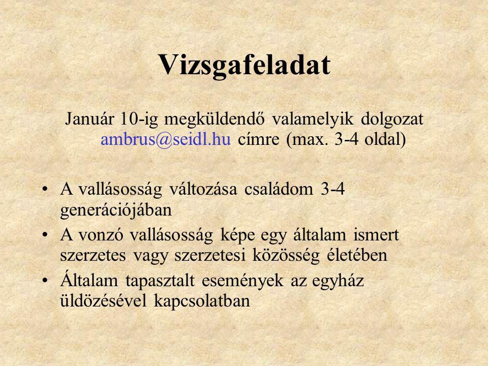 Vizsgafeladat Január 10-ig megküldendő valamelyik dolgozat ambrus@seidl.hu címre (max.