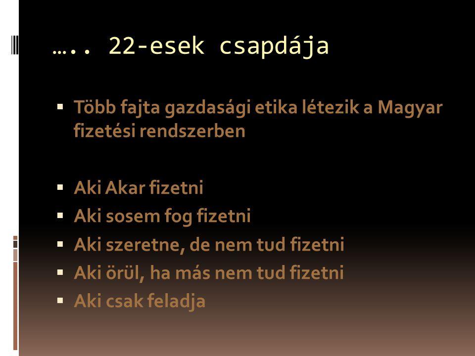 ….. 22-esek csapdája  Több fajta gazdasági etika létezik a Magyar fizetési rendszerben  Aki Akar fizetni  Aki sosem fog fizetni  Aki szeretne, de