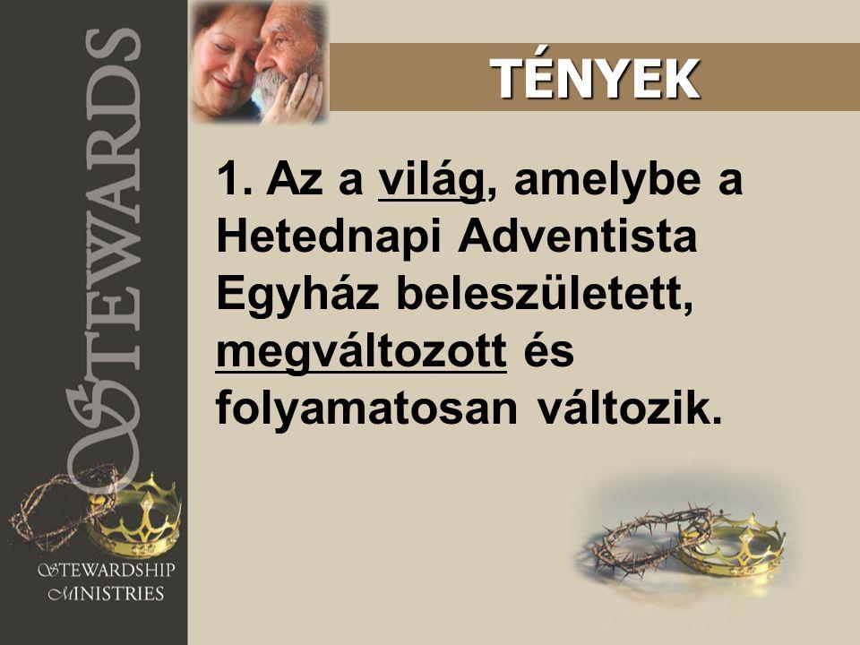 1. Az a világ, amelybe a Hetednapi Adventista Egyház beleszületett, megváltozott és folyamatosan változik. TÉNYEK