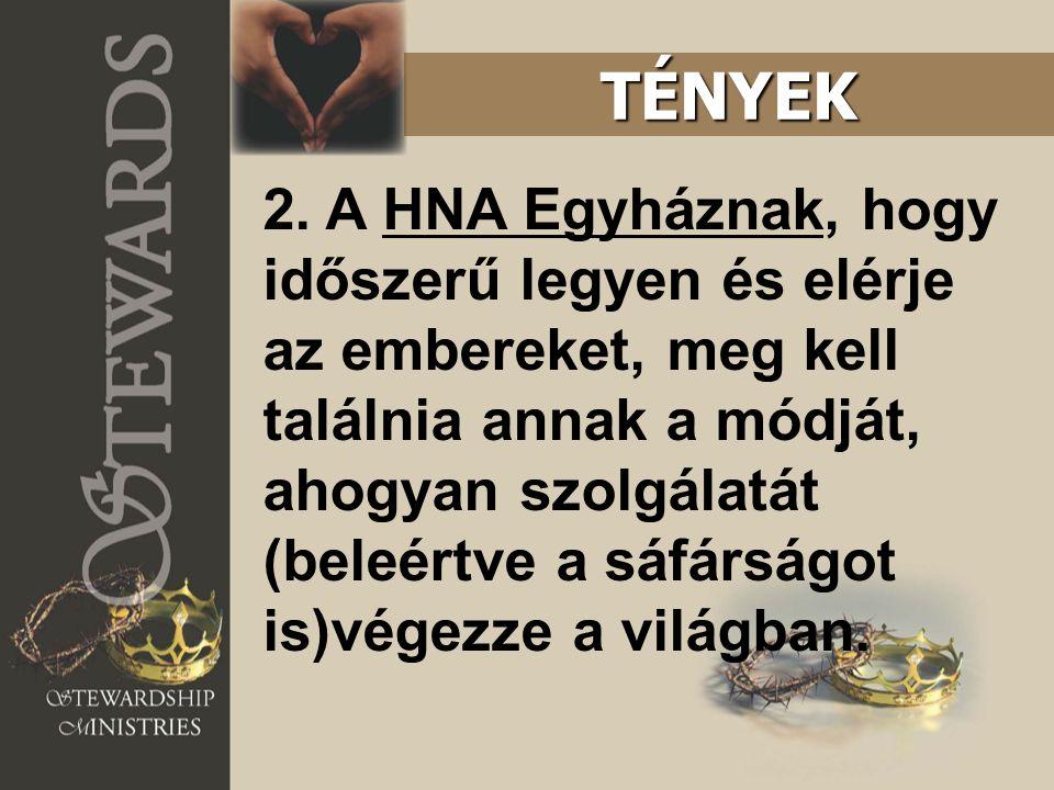 2. A HNA Egyháznak, hogy időszerű legyen és elérje az embereket, meg kell találnia annak a módját, ahogyan szolgálatát (beleértve a sáfárságot is)vége